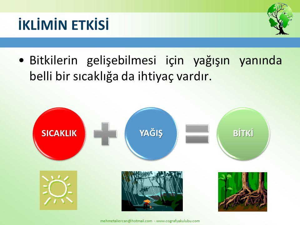 mehmetaliercan@hotmail.com - www.cografyakulubu.com İKLİMİN ETKİSİ •Bitkilerin gelişebilmesi için yağışın yanında belli bir sıcaklığa da ihtiyaç vardı