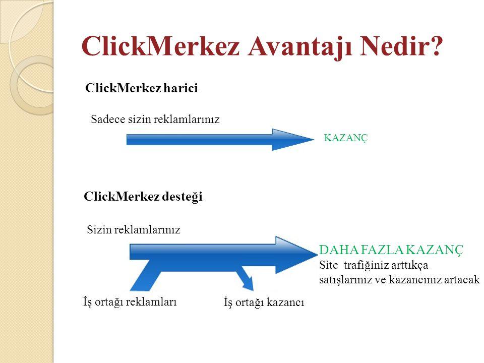 ClickMerkez Avantajı Nedir? ClickMerkez harici KAZANÇ ClickMerkez desteği Site trafiğiniz arttıkça satışlarınız ve kazancınız artacak Sadece sizin rek