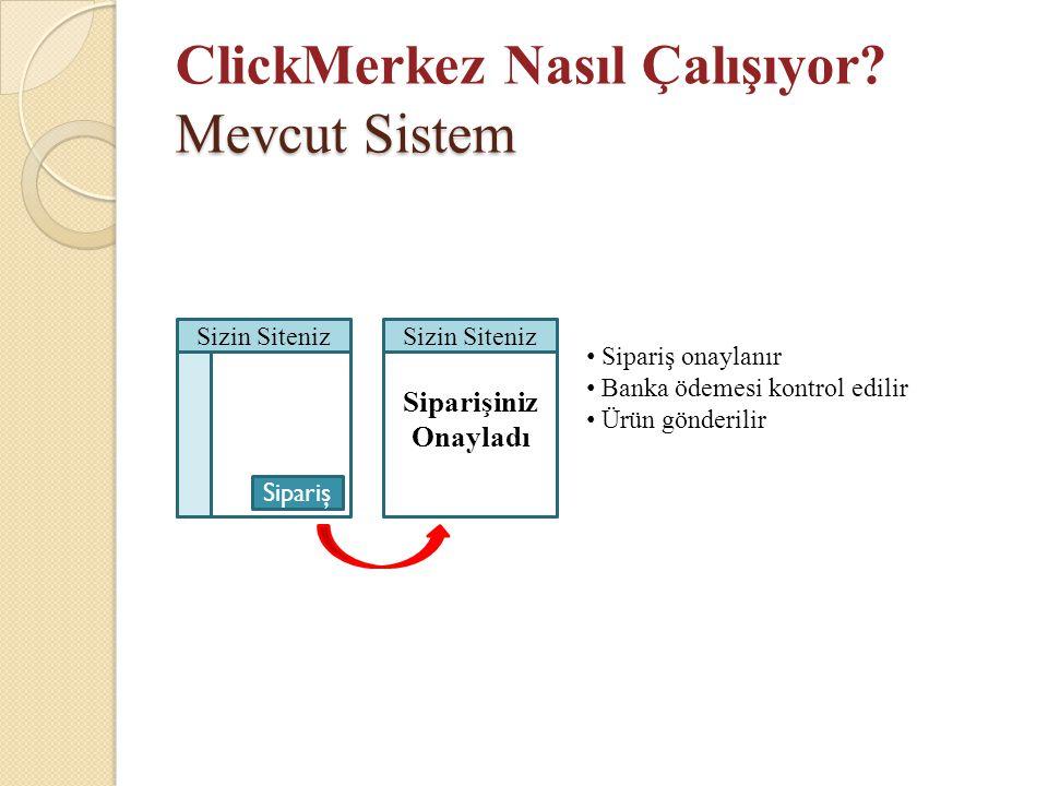 Mevcut Sistem ClickMerkez Nasıl Çalışıyor? Mevcut Sistem Sizin Siteniz Sipariş Siparişiniz Onayladı Sizin Siteniz • Sipariş onaylanır • Banka ödemesi