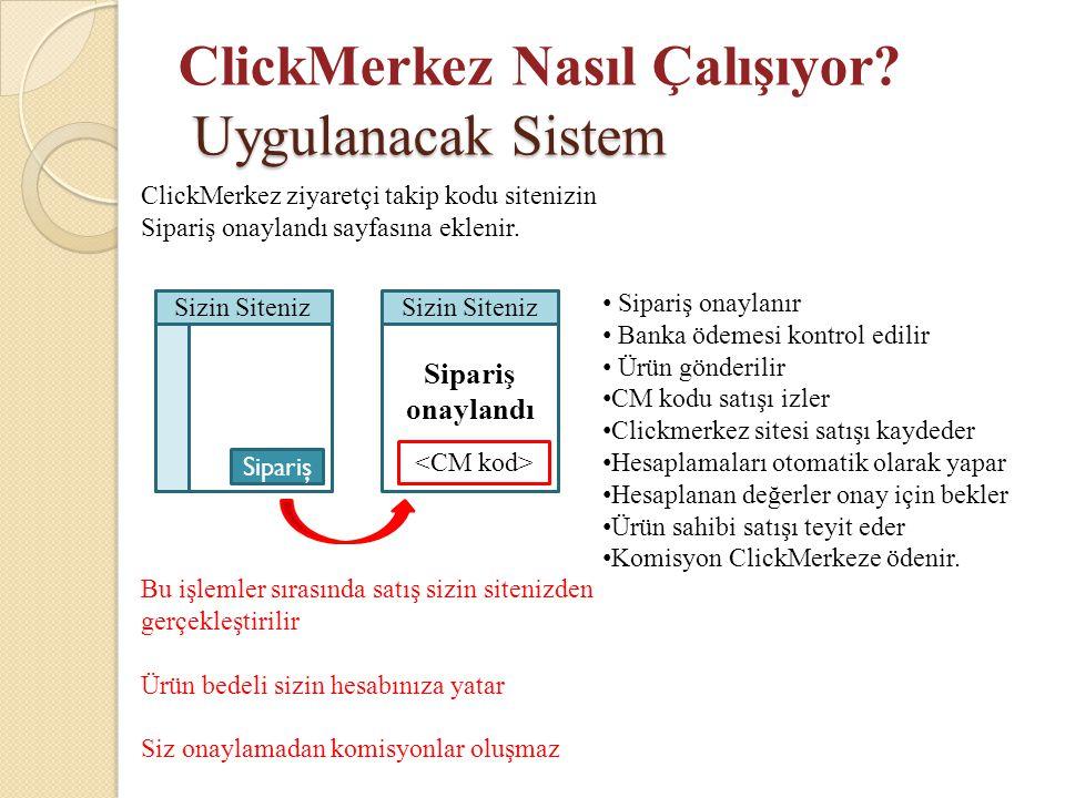 Uygulanacak Sistem ClickMerkez Nasıl Çalışıyor? Uygulanacak Sistem Sizin Siteniz Sipariş ClickMerkez ziyaretçi takip kodu sitenizin Sipariş onaylandı