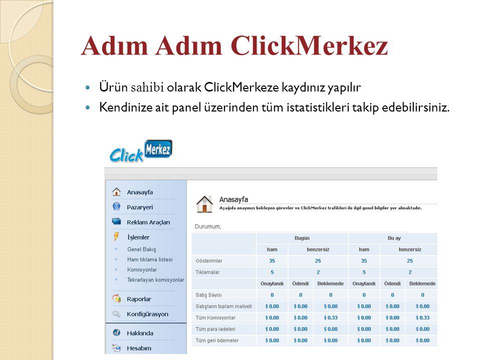 Adım Adım ClickMerkez  Ürün sahibi olarak ClickMerkeze kaydınız yapılır  Kendinize ait panel üzerinden tüm istatistikleri takip edebilirsiniz.