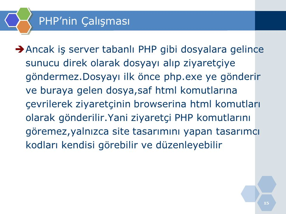  Ancak iş server tabanlı PHP gibi dosyalara gelince sunucu direk olarak dosyayı alıp ziyaretçiye göndermez.Dosyayı ilk önce php.exe ye gönderir ve bu