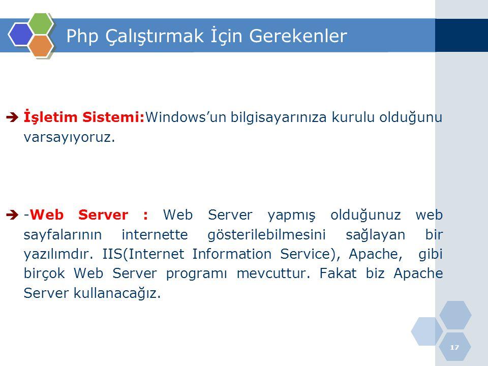 17 Php Çalıştırmak İçin Gerekenler  İşletim Sistemi:Windows'un bilgisayarınıza kurulu olduğunu varsayıyoruz.  -Web Server : Web Server yapmış olduğu