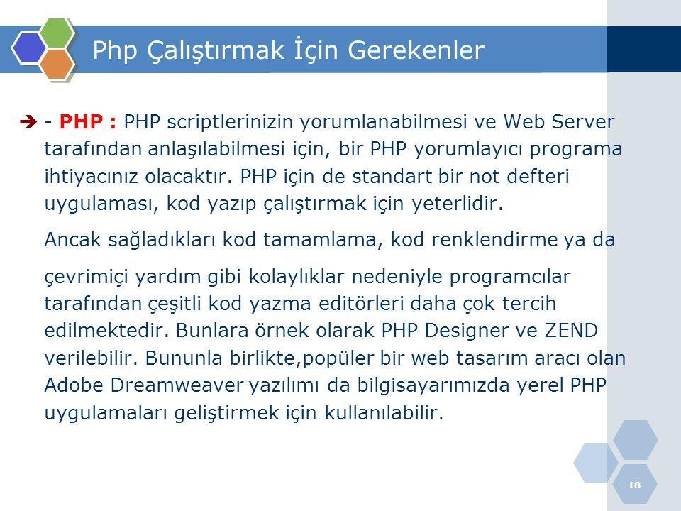 18 Php Çalıştırmak İçin Gerekenler  - PHP : PHP scriptlerinizin yorumlanabilmesi ve Web Server tarafından anlaşılabilmesi için, bir PHP yorumlayıcı p