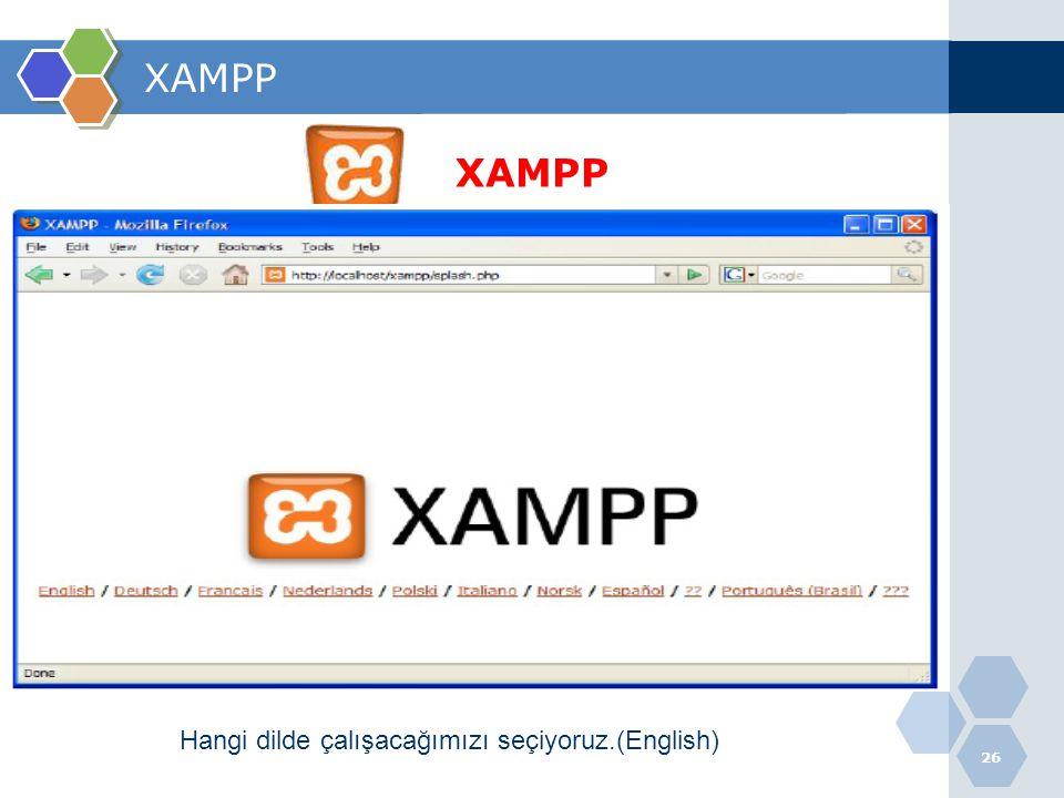 26 XAMPP Hangi dilde çalışacağımızı seçiyoruz.(English)