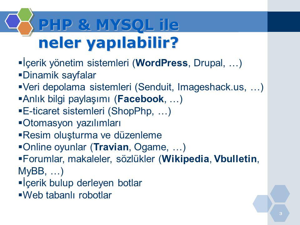 3  İçerik yönetim sistemleri (WordPress, Drupal, …)  Dinamik sayfalar  Veri depolama sistemleri (Senduit, Imageshack.us, …)  Anlık bilgi paylaşımı