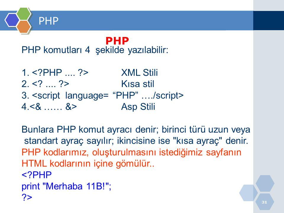 31 PHP PHP komutları 4 şekilde yazılabilir: 1. XML Stili 2. Kısa stil 3. 4. Asp Stili Bunlara PHP komut ayracı denir; birinci türü uzun veya standart