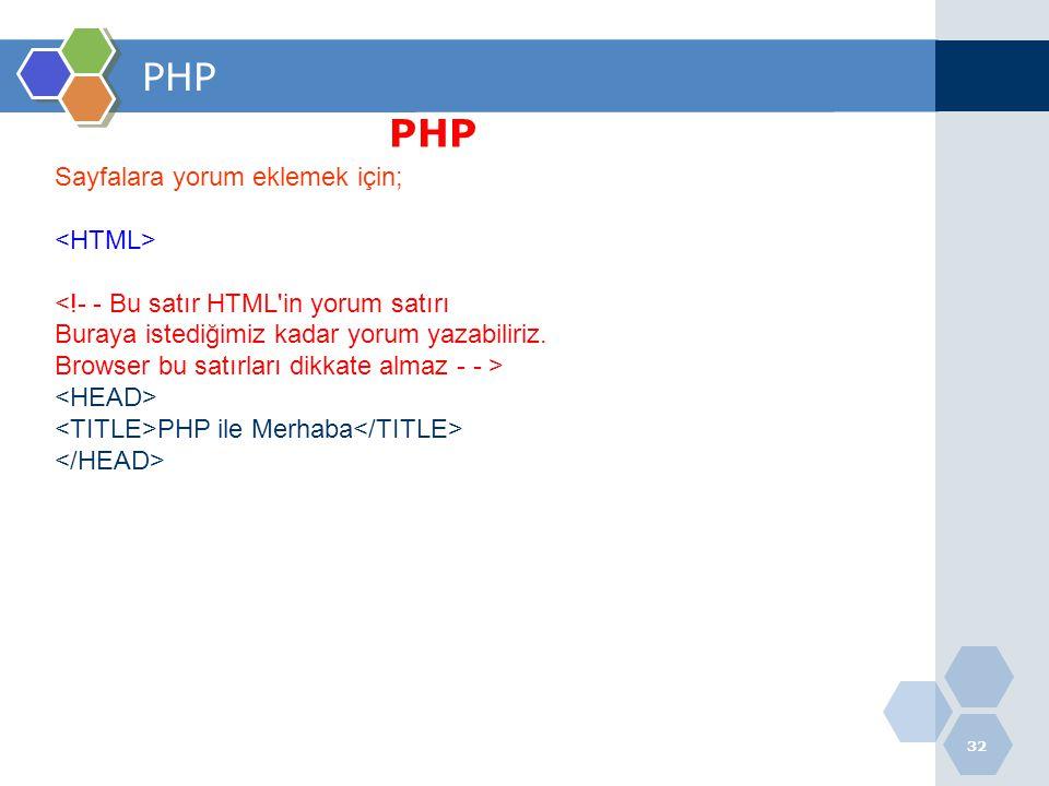 32 PHP Sayfalara yorum eklemek için; <!- - Bu satır HTML'in yorum satırı Buraya istediğimiz kadar yorum yazabiliriz. Browser bu satırları dikkate alma