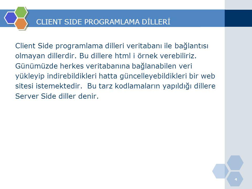 SERVER SIDE PROGRAMLAMA DİLLERİ Veritabanıyla iletişime geçebilen,veri yükleyip indirilebilen, işlenilebilen dillere Server Side programlama dilleri denir.