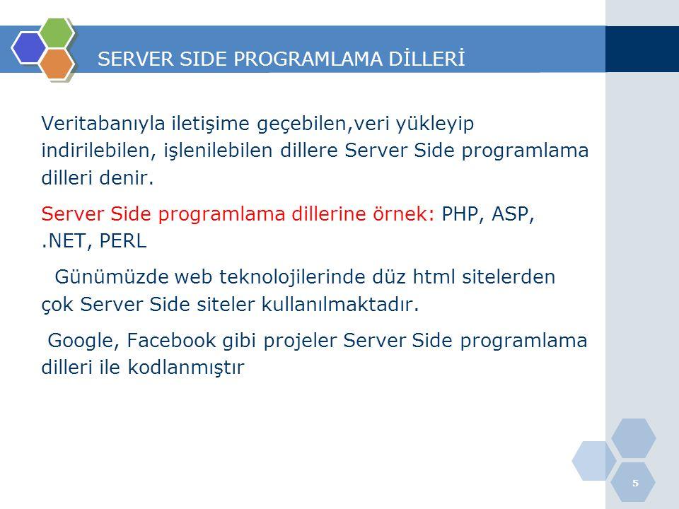 SERVER SIDE PROGRAMLAMA DİLLERİ Veritabanıyla iletişime geçebilen,veri yükleyip indirilebilen, işlenilebilen dillere Server Side programlama dilleri d