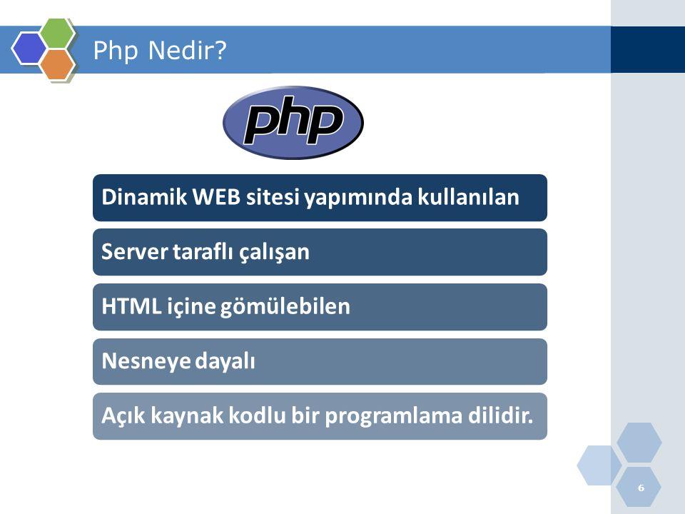 6 Php Nedir? 1 Dinamik WEB sitesi yapımında kullanılanServer taraflı çalışanHTML içine gömülebilenNesneye dayalıAçık kaynak kodlu bir programlama dili