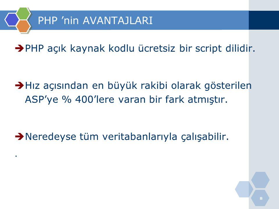 9 PHP 'nin AVANTAJLARI  SQL programı olarak MySQL ve PostgreSQL programları ücretsiz olarak dağıtılır,  İnternette bol miktarda dokümanları bulunur  Win95/98/NT,2000,Xp,vista,Win7,Unix ve Linux türevleri üzerinde çalışabilmesi en büyük avantajlarıdır.