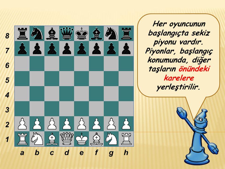 Her oyuncunun başlangıçta sekiz piyonu vardır.