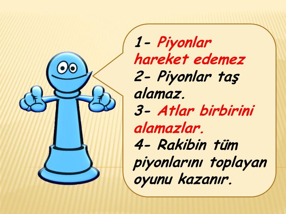 1- Piyonlar hareket edemez 2- Piyonlar taş alamaz. 3- Atlar birbirini alamazlar. 4- Rakibin tüm piyonlarını toplayan oyunu kazanır.
