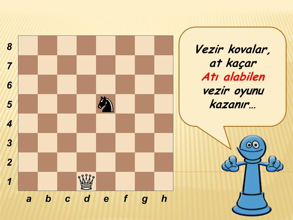 Vezir kovalar, at kaçar Atı alabilen vezir oyunu kazanır… abcdefgh 8 7 6 5 4 3 2 1
