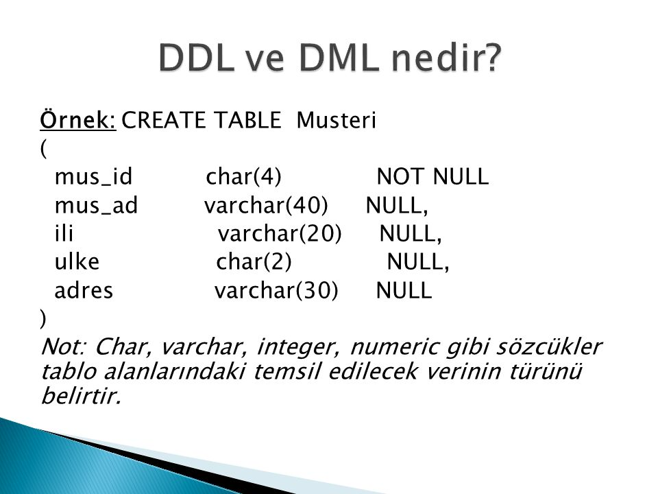 Örnek: CREATE TABLE Musteri ( mus_id char(4) NOT NULL mus_ad varchar(40) NULL, ili varchar(20) NULL, ulke char(2) NULL, adres varchar(30) NULL ) Not: