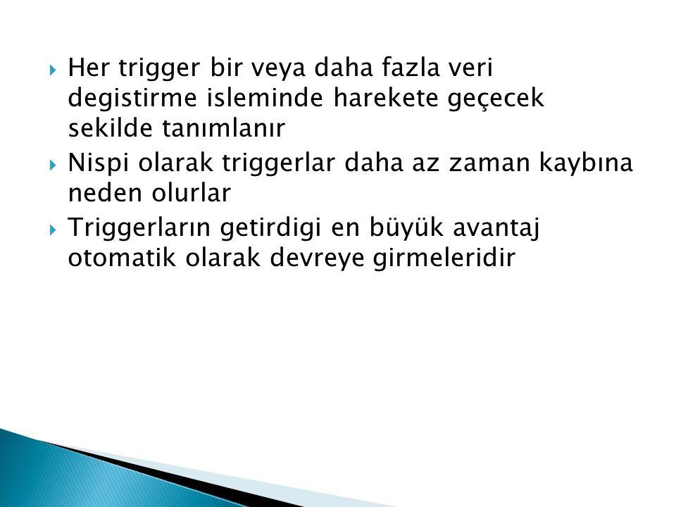  Her trigger bir veya daha fazla veri degistirme isleminde harekete geçecek sekilde tanımlanır  Nispi olarak triggerlar daha az zaman kaybına neden