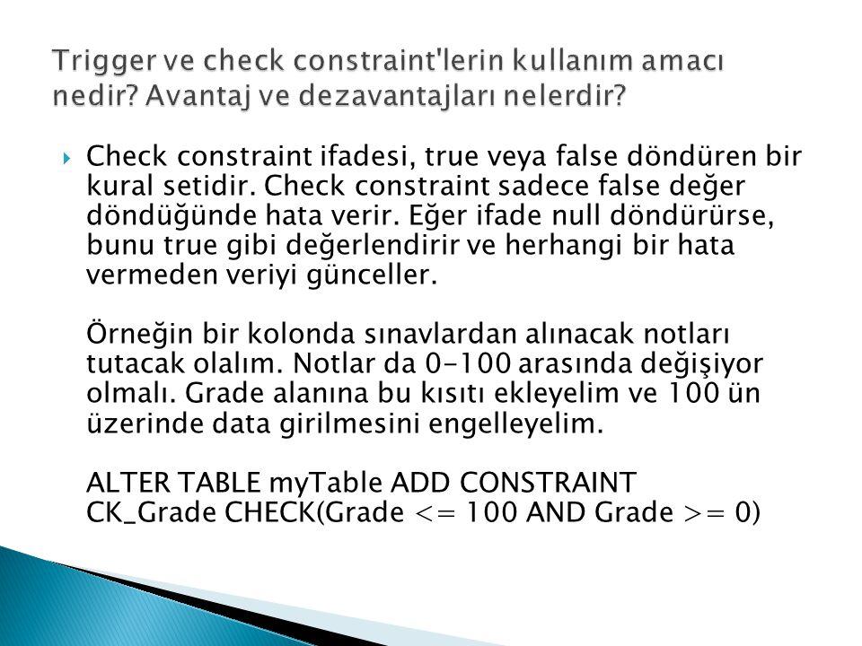  Check constraint ifadesi, true veya false döndüren bir kural setidir. Check constraint sadece false değer döndüğünde hata verir. Eğer ifade null dön