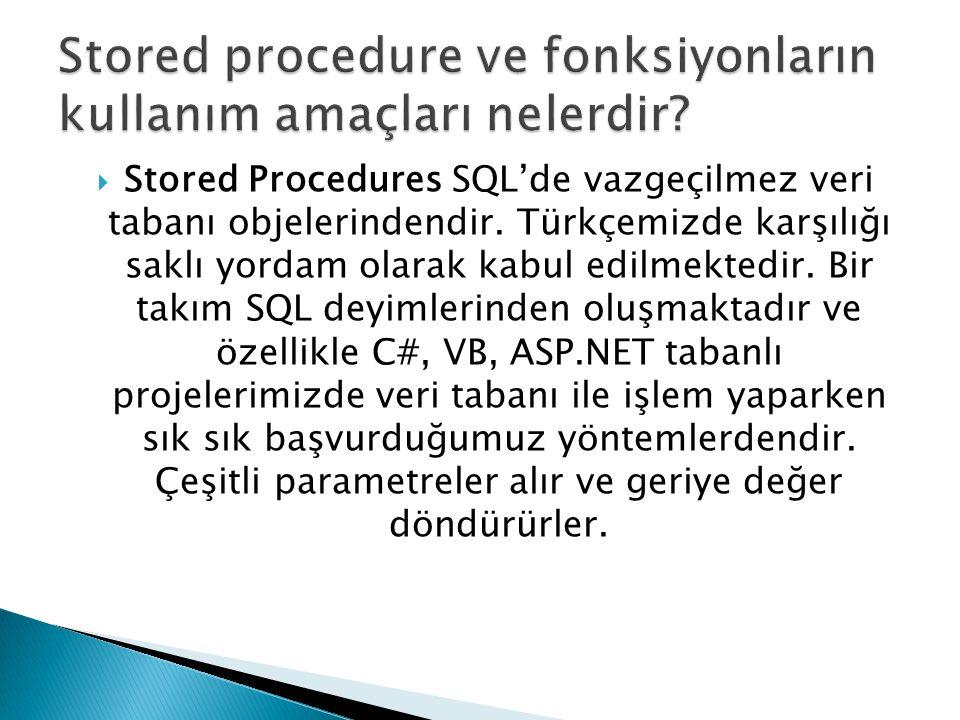  Stored Procedures SQL'de vazgeçilmez veri tabanı objelerindendir. Türkçemizde karşılığı saklı yordam olarak kabul edilmektedir. Bir takım SQL deyiml