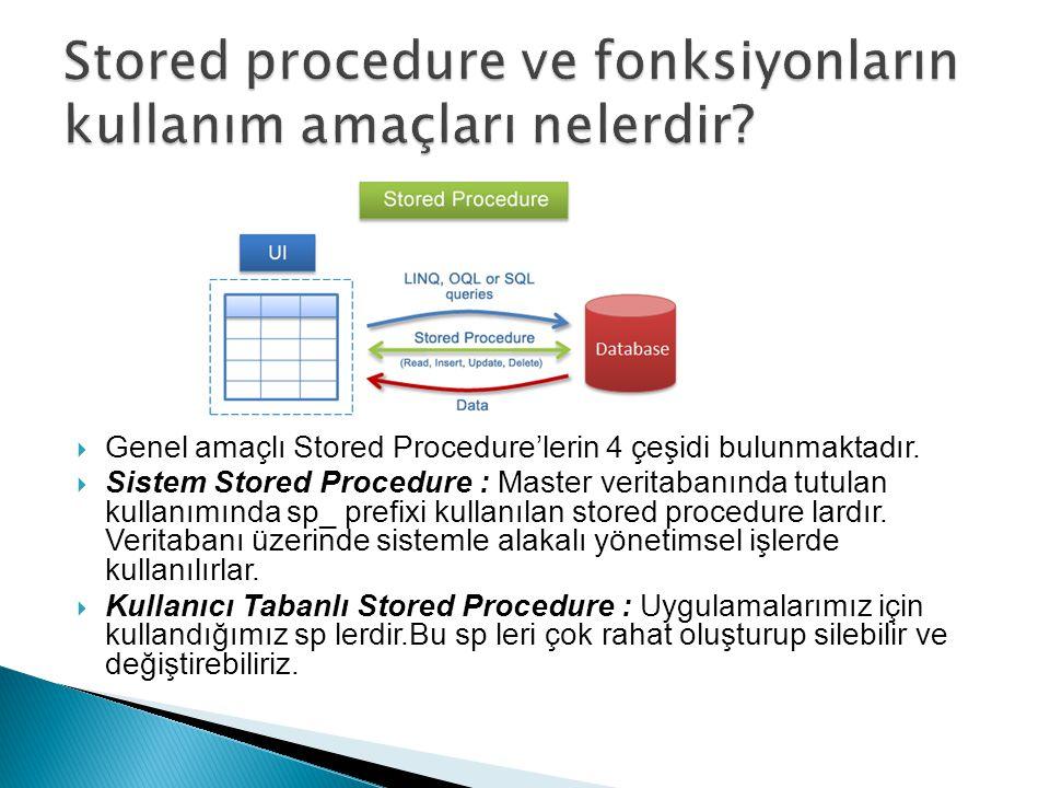 Genel amaçlı Stored Procedure'lerin 4 çeşidi bulunmaktadır.  Sistem Stored Procedure : Master veritabanında tutulan kullanımında sp_ prefixi kullan
