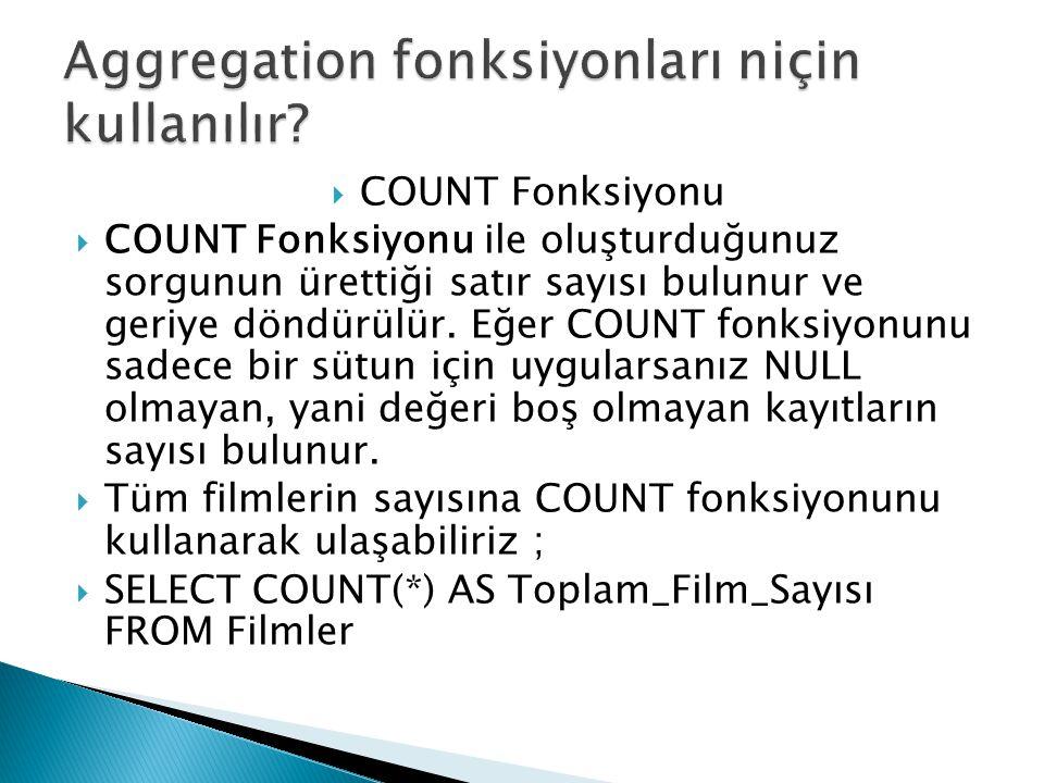  COUNT Fonksiyonu  COUNT Fonksiyonu ile oluşturduğunuz sorgunun ürettiği satır sayısı bulunur ve geriye döndürülür. Eğer COUNT fonksiyonunu sadece b