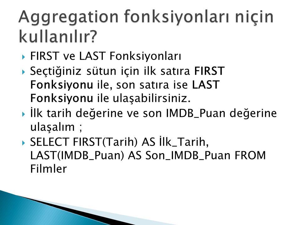  FIRST ve LAST Fonksiyonları  Seçtiğiniz sütun için ilk satıra FIRST Fonksiyonu ile, son satıra ise LAST Fonksiyonu ile ulaşabilirsiniz.  İlk tarih