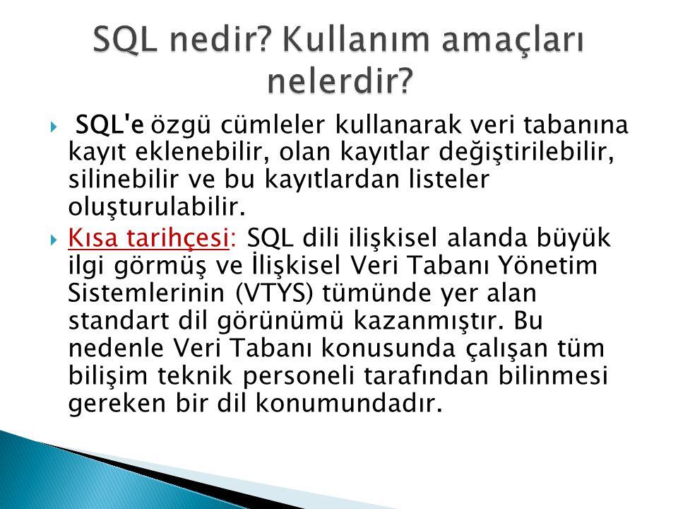 SQL'e özgü cümleler kullanarak veri tabanına kayıt eklenebilir, olan kayıtlar değiştirilebilir, silinebilir ve bu kayıtlardan listeler oluşturulabil