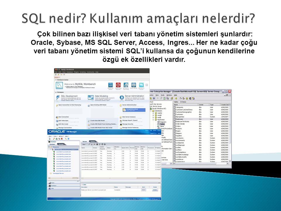 Çok bilinen bazı ilişkisel veri tabanı yönetim sistemleri şunlardır: Oracle, Sybase, MS SQL Server, Access, Ingres... Her ne kadar çoğu veri tabanı yö
