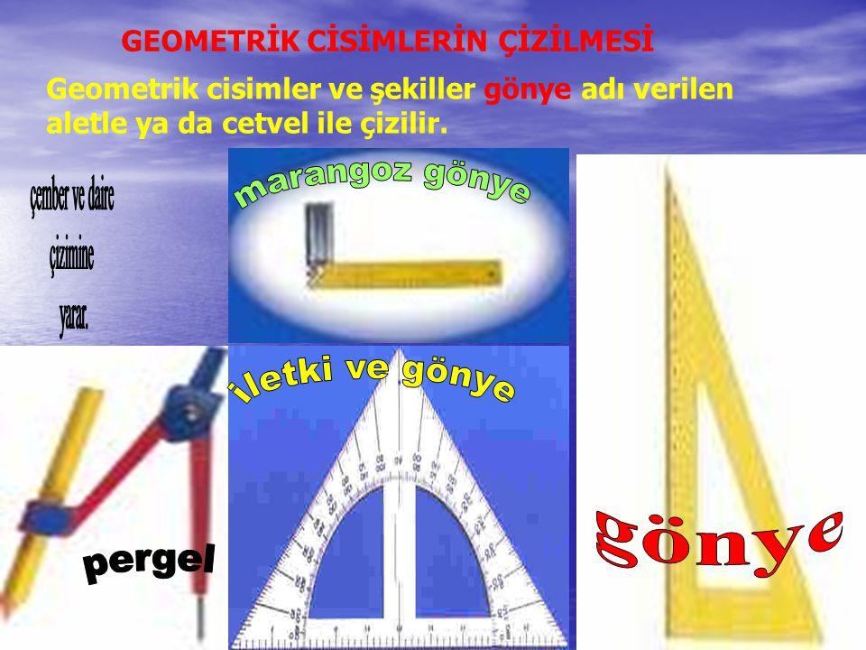 Geometrik cisimler ve şekiller gönye adı verilen aletle ya da cetvel ile çizilir. GEOMETRİK CİSİMLERİN ÇİZİLMESİ