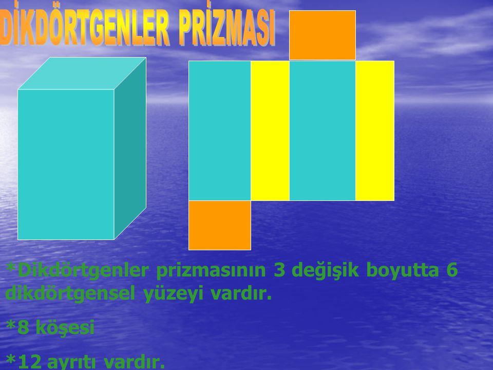 *Dikdörtgenler prizmasının 3 değişik boyutta 6 dikdörtgensel yüzeyi vardır. *8 köşesi *12 ayrıtı vardır.