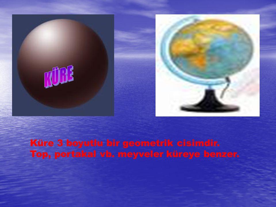 Küre 3 boyutlu bir geometrik cisimdir. Top, portakal vb. meyveler küreye benzer.