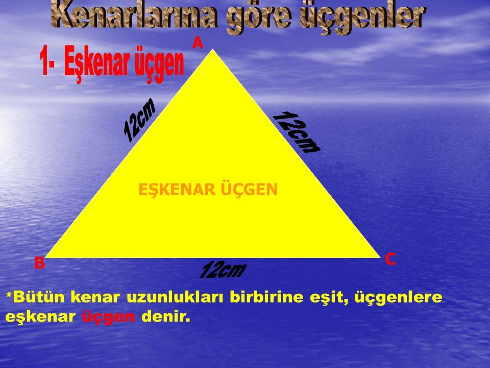 * Bütün kenar uzunlukları birbirine eşit, üçgenlere eşkenar üçgen denir. EŞKENAR ÜÇGEN A B C