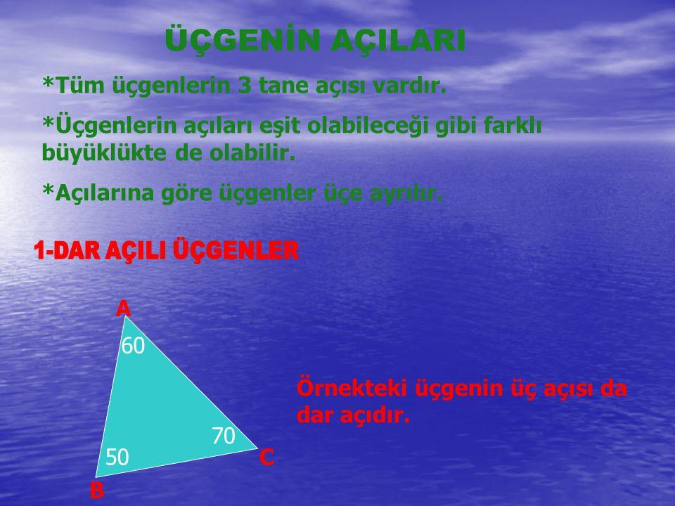 ÜÇGENİN AÇILARI *Tüm üçgenlerin 3 tane açısı vardır. *Üçgenlerin açıları eşit olabileceği gibi farklı büyüklükte de olabilir. *Açılarına göre üçgenler