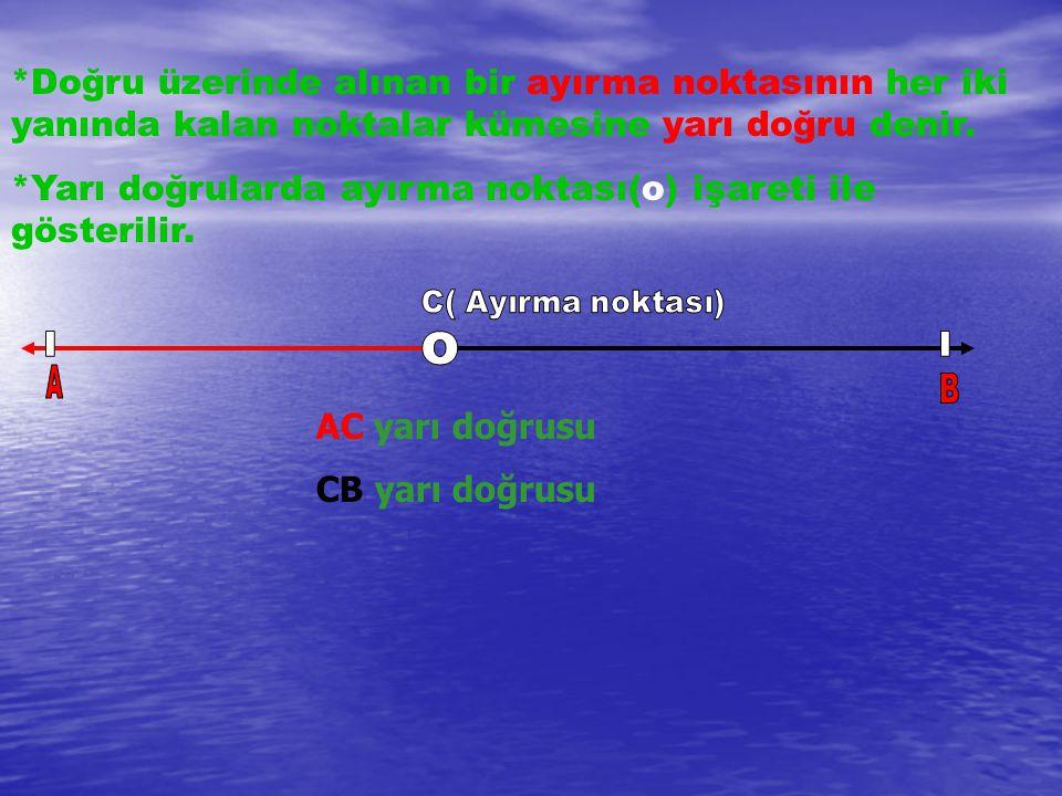 *Doğru üzerinde alınan bir ayırma noktasının her iki yanında kalan noktalar kümesine yarı doğru denir. *Yarı doğrularda ayırma noktası(o) işareti ile
