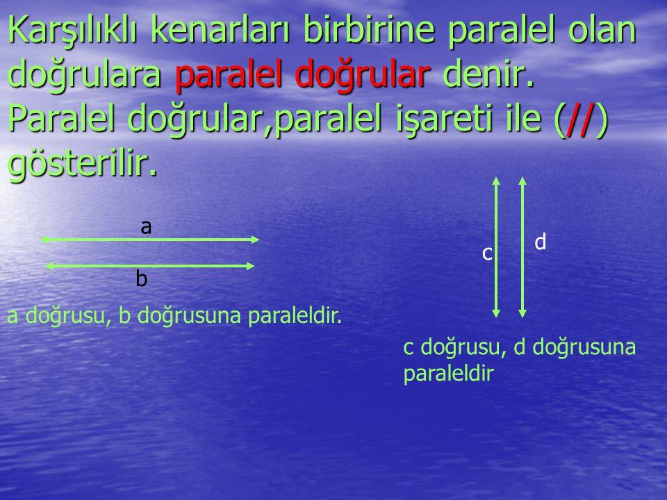 Karşılıklı kenarları birbirine paralel olan doğrulara paralel doğrular doğrular denir. Paralel doğrular,paralel işareti ile (//) gösterilir. a b a doğ