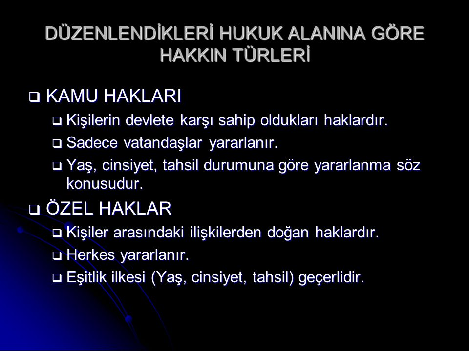 KAMU HAKLARI  KİŞİSEL HAKLAR (ANY m.