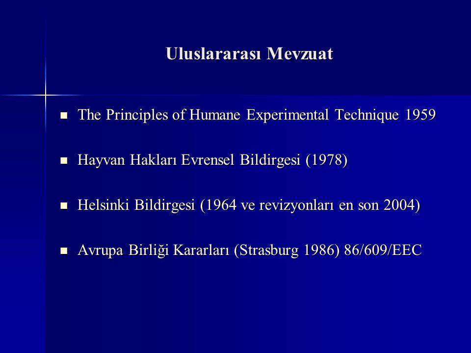 Uluslararası Mevzuat  The Principles of Humane Experimental Technique 1959  Hayvan Hakları Evrensel Bildirgesi (1978)  Helsinki Bildirgesi (1964 ve