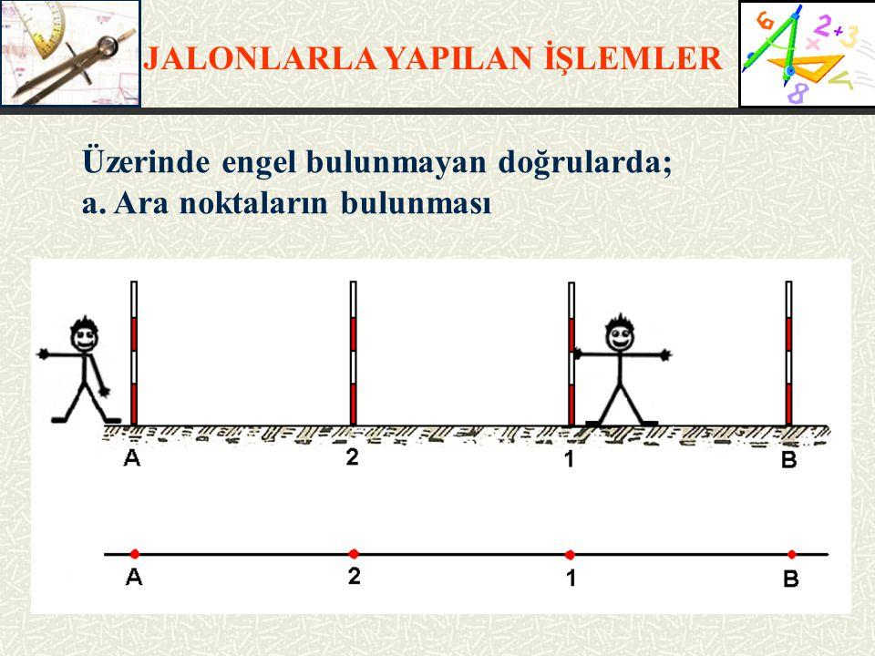 JALONLARLA YAPILAN İŞLEMLER Üzerinde engel bulunmayan doğrularda; a. Ara noktaların bulunması