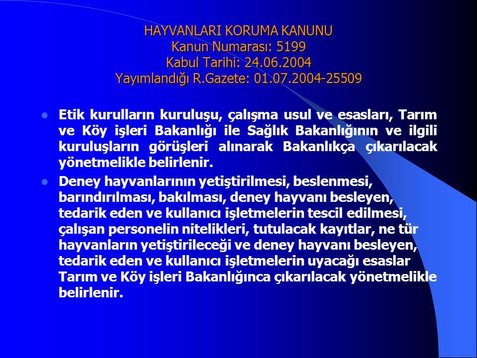 HAYVANLARI KORUMA KANUNU Kanun Numarası: 5199 Kabul Tarihi: 24.06.2004 Yayımlandığı R.Gazete: 01.07.2004-25509  Etik kurulların kuruluşu, çalışma usu