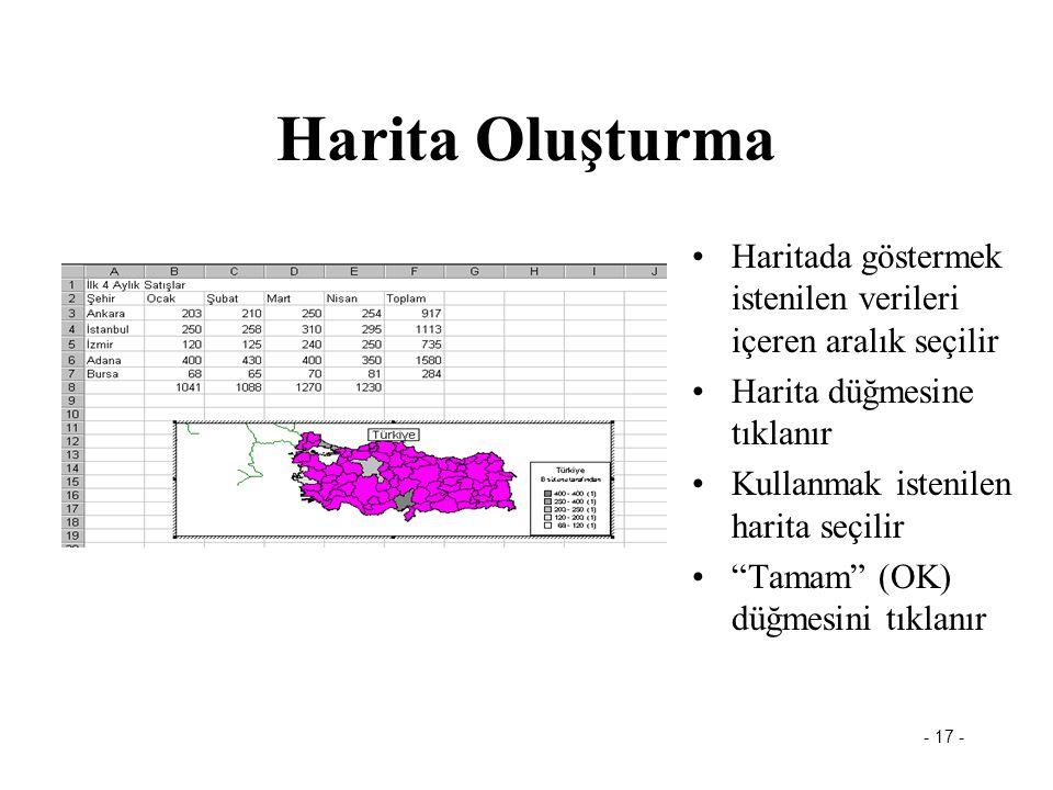 """- 17 - Harita Oluşturma •Haritada göstermek istenilen verileri içeren aralık seçilir •Harita düğmesine tıklanır •Kullanmak istenilen harita seçilir •"""""""