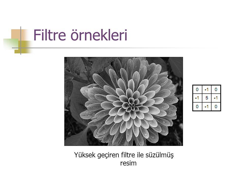 Filtre örnekleri Yüksek geçiren filtre ile süzülmüş resim