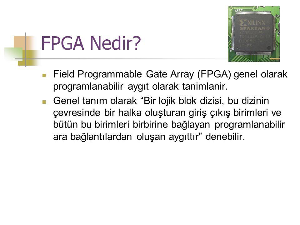 """FPGA Nedir?  Field Programmable Gate Array (FPGA) genel olarak programlanabilir aygıt olarak tanimlanir.  Genel tanım olarak """"Bir lojik blok dizisi,"""