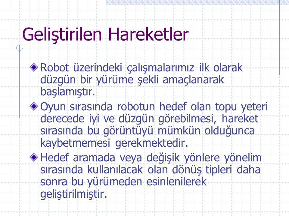 Geliştirilen Hareketler Robot üzerindeki çalışmalarımız ilk olarak düzgün bir yürüme şekli amaçlanarak başlamıştır. Oyun sırasında robotun hedef olan