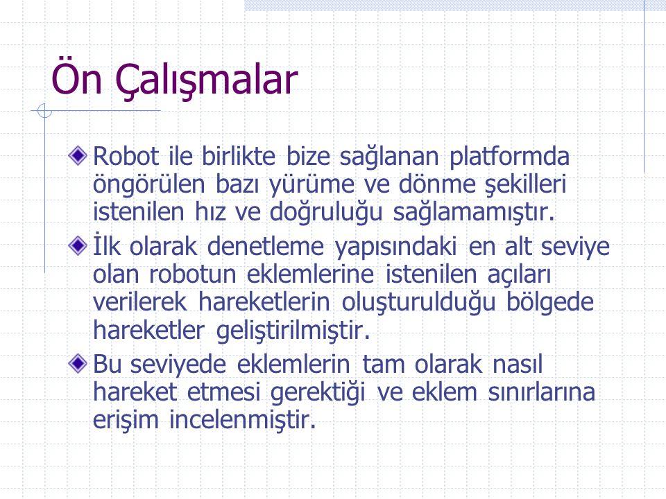 Ön Çalışmalar Robot ile birlikte bize sağlanan platformda öngörülen bazı yürüme ve dönme şekilleri istenilen hız ve doğruluğu sağlamamıştır. İlk olara