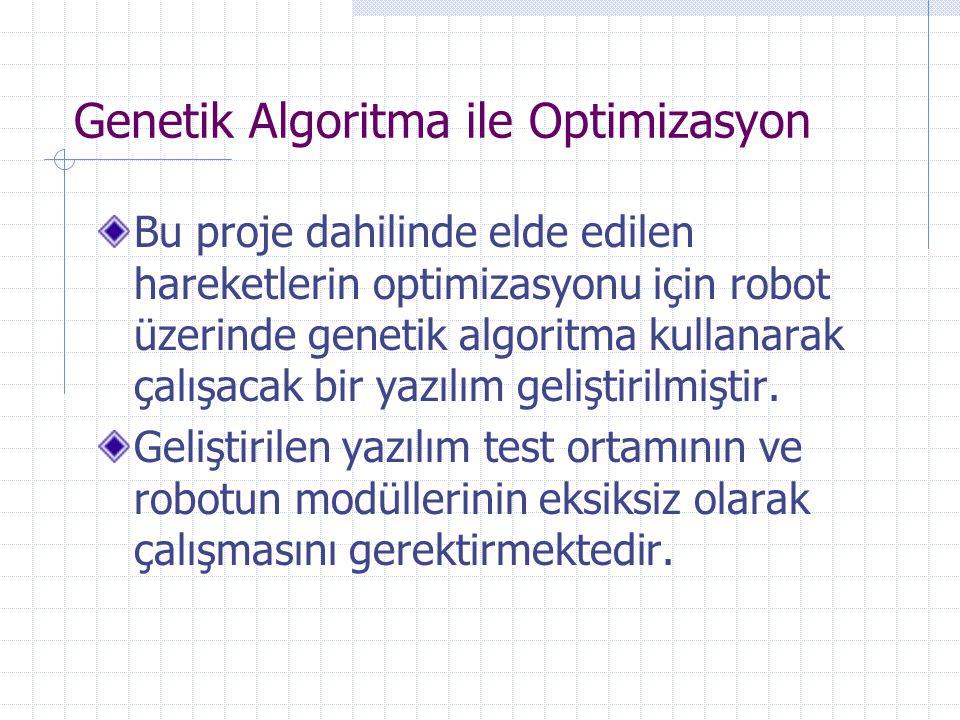 Genetik Algoritma ile Optimizasyon Bu proje dahilinde elde edilen hareketlerin optimizasyonu için robot üzerinde genetik algoritma kullanarak çalışaca