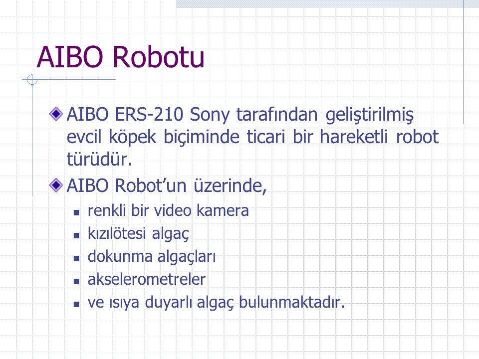 AIBO Robotu AIBO ERS-210 Sony tarafından geliştirilmiş evcil köpek biçiminde ticari bir hareketli robot türüdür. AIBO Robot'un üzerinde,  renkli bir