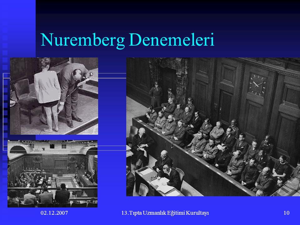 02.12.200713.Tıpta Uzmanlık Eğitimi Kurultayı10 Nuremberg Denemeleri