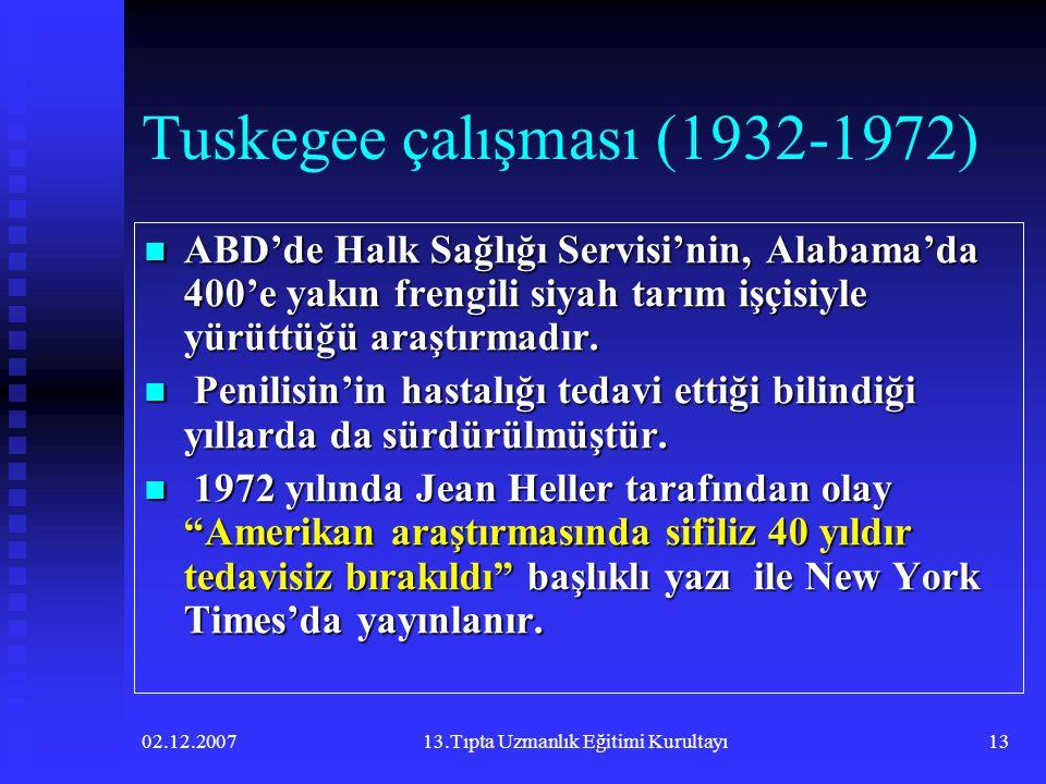 02.12.200713.Tıpta Uzmanlık Eğitimi Kurultayı13 Tuskegee çalışması (1932-1972)  ABD'de Halk Sağlığı Servisi'nin, Alabama'da 400'e yakın frengili siya