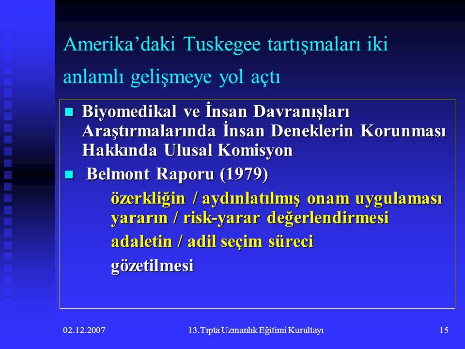 02.12.200713.Tıpta Uzmanlık Eğitimi Kurultayı15 Amerika'daki Tuskegee tartışmaları iki anlamlı gelişmeye yol açtı  Biyomedikal ve İnsan Davranışları
