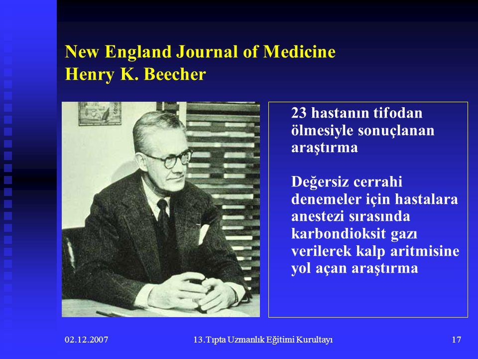 02.12.200713.Tıpta Uzmanlık Eğitimi Kurultayı17 New England Journal of Medicine Henry K. Beecher 23 hastanın tifodan ölmesiyle sonuçlanan araştırma De